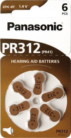 Panasonic set šestih baterij Zinc Air PR312, za slušni aparat
