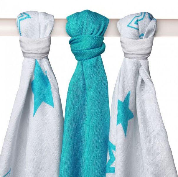 Kikko Bambusové pleny 70x70cm, 3ks - Stars Turquoise Mix
