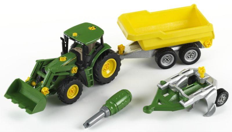 Klein John Deere Traktor se sklápěcím přívěsem a pluhem