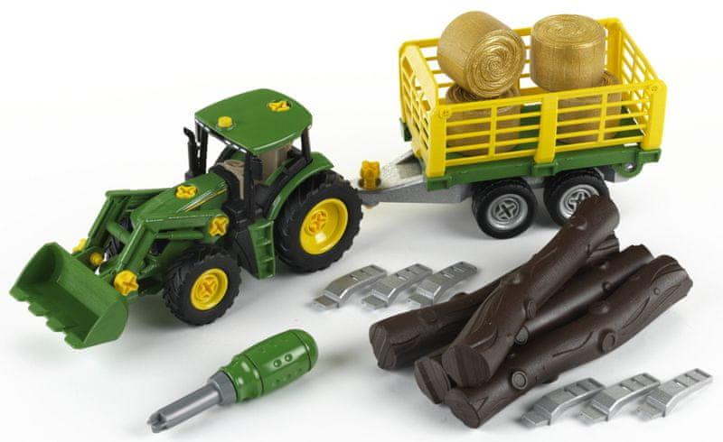 Klein John Deere Tractor s přívěsem na dřevo a seno
