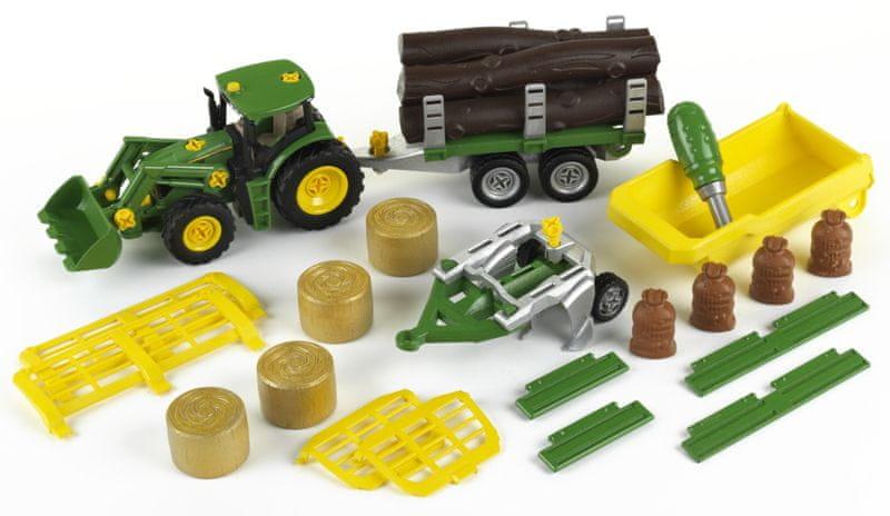 Klein John Deere Tractor se sklápěčkou 3 přívěsy a pluhem
