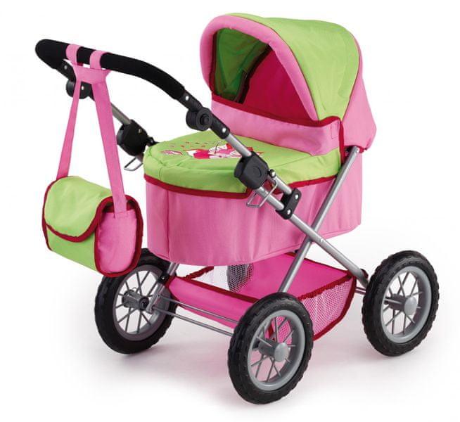 Bayer Design Trendy kočárek pro panenky, růžová/zelená