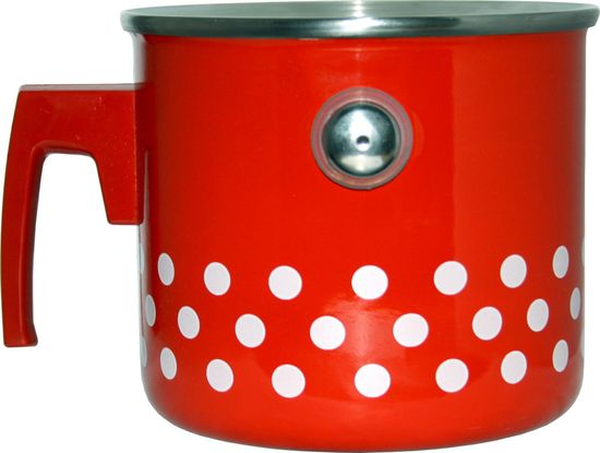 Metalac lonček za mleko, rdeče pike