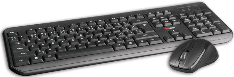 C-Tech WLKMC-01, bezdrátový combo set s myší, černý, USB, CZ/SK