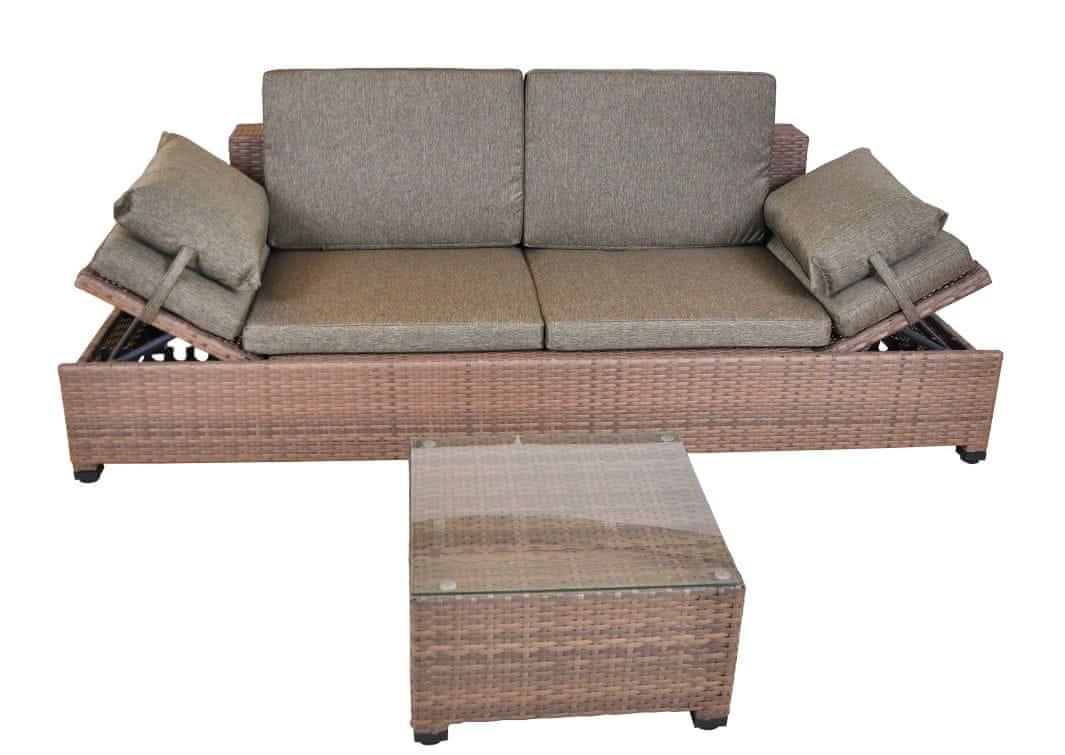 Home&Garden Sofa MILANO Brown Light 2w1