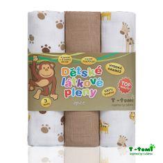 T-tomi Tetra pleny - Top kvalita, sada 3 kusů, opice + dárek