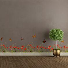 Crearreda dekorativna nalepka, Maki in metulji