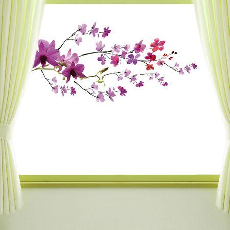 Crearreda okenska elektrostatična obojestranska nalepka, Vijolična veja