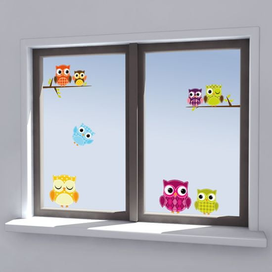 Crearreda prozorska dekorativna naljepnica, sovice