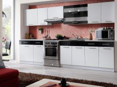 Kuchyně MARTINA COM 260/320 cm, bílá/černý lesk