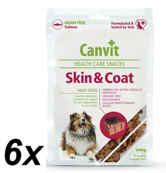 Canvit Snacks Skin & Coat 6 x 200g