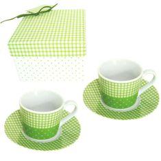 Metalac skodelici s krožnikom Karo, zeleni, 4 delni set