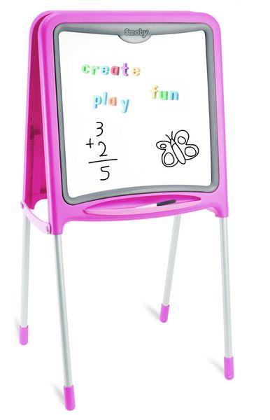 Smoby Kovová tabule na kreslení 2v1 růžová