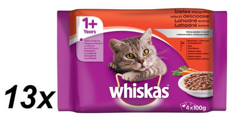 Whiskas Lahodné krmivo v krémové omáčce BONUS 13 x 4pack