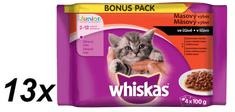 Whiskas saszetki dla kota Junior 4 rodzaje mięs w sosie 13x(4x100g)