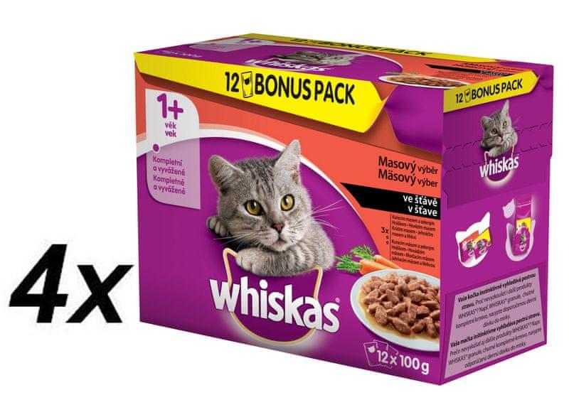 Whiskas Masový výběr ve šťávě BONUS 4 x 12pack