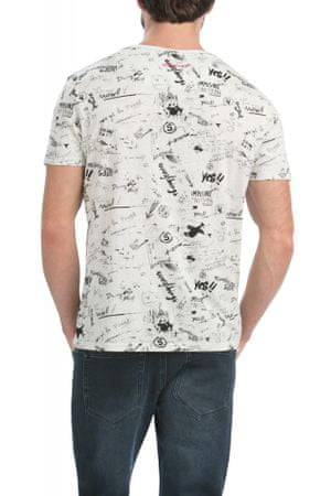 Desigual pánské tričko s nápisy XXL smetanová  a3a239ef91b