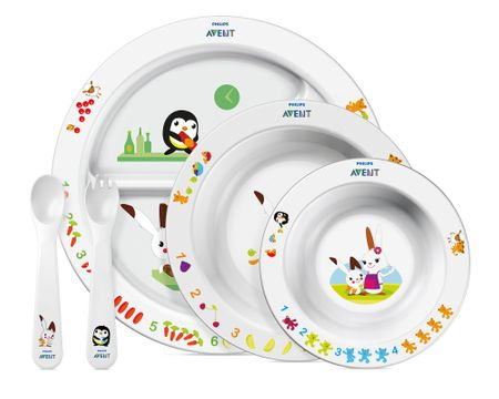 Avent Zastawa stołowa dla dziecka - 3 talerze + sztućce