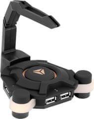 Yenkee Herní USB rozbočovač s držákem kabelu myši (YHB 3004)