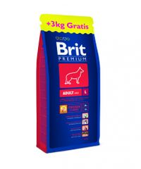 Brit Premium Dog Adult L 15 + 3 kg Zdarma