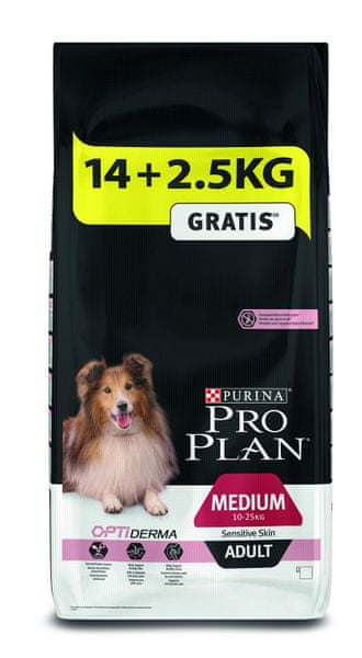 Purina Pro Plan Purina Pro Plan Medium Adult OPTIDERMA pro citlivou kůži 14+2,5 kg
