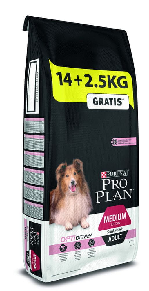 Purina Pro Plan Medium Adult OPTIDERMA pro citlivou kůži 14+2,5 kg