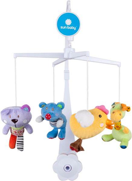 Sun Baby Kolotoč nad postýlku s plyšovými hračkami (medvídek, kočka, kuřátko, žirafa)
