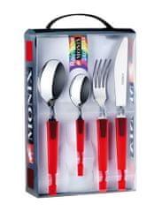 Monix jedilni pribor Rainbow, rdeč, 24 delni