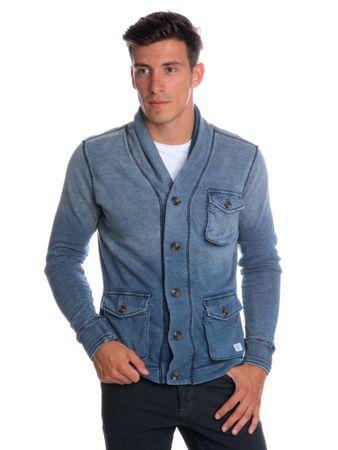 Pepe Jeans pánská mikina na knoflíky Hirst XXL modrá  0753549ae6