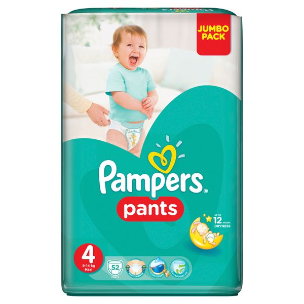 Pampers Plenkové kalhotky ActivePants 4 Maxi Jumbo Pack 52 ks