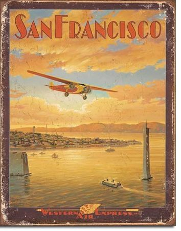 Postershop okrasna tabla San Francisco (Western Express Air) 40 x 30 cm