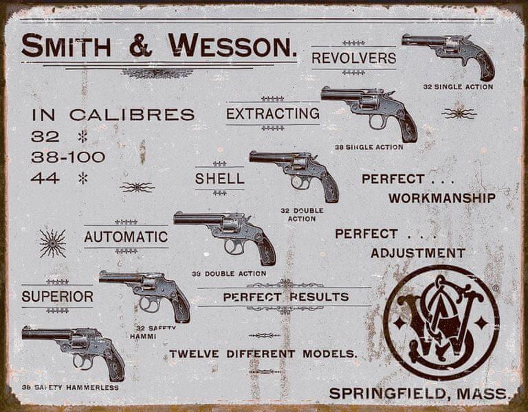 Postershop Plechová cedule Smith & Wesson (Revolvery)