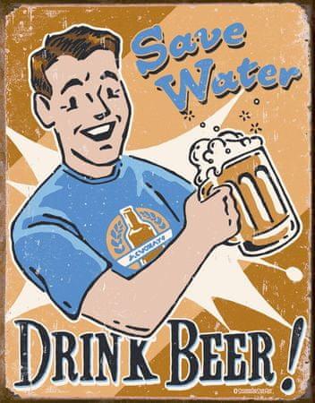 Postershop Plechová cedule Drink Beer!