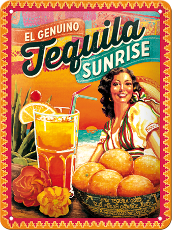 Postershop okrasna tabla Tequila Sunrise 15 x 20 cm