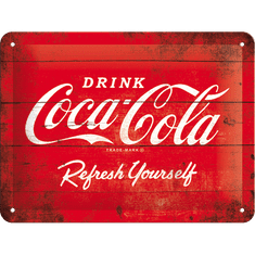 Postershop Plechová cedule 15x20 cm Coca-Cola (Červené logo)