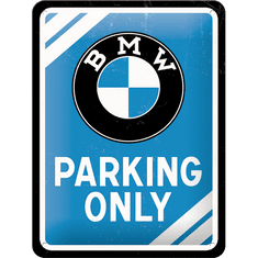 Postershop Plechová tabuľa 15x20 cm BMW Parking Only (modrá)