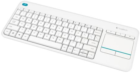 Logitech tipkovnica K400 Plus Wireless, Unifying, bela, SLO