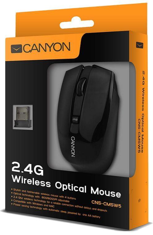 Canyon myš optická bezdrátová CMSW5, rozlišení 800/1280dpi černá (CNS-CMSW5B)