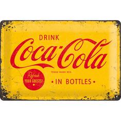 Postershop Plechová tabuľa  20x30 cm Coca-Cola (Žlté logo)
