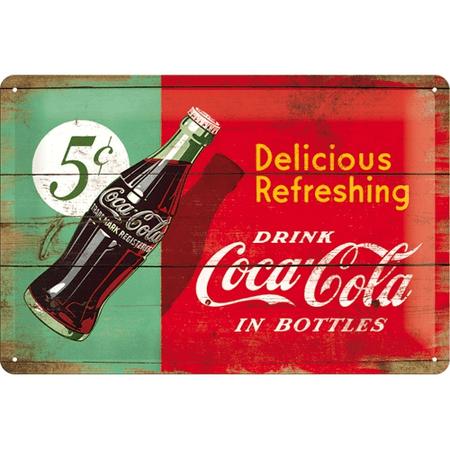 Postershop okrasna tabla Coca-Cola (dvobarvna) 20 x 30 cm