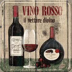 Postershop Sada 5ks plechových tácků Vino Rosso
