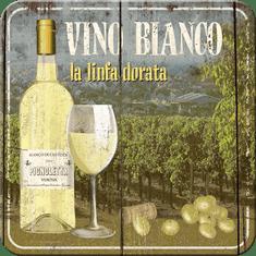 Postershop Sada 5ks plechových tácok Vino Bianco