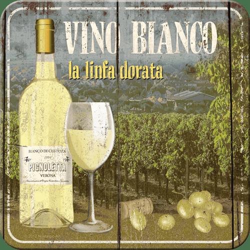 Postershop Sada 5ks plechových tácků Vino Bianco