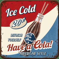Postershop Sada 5ks plechových tácků Ice Cold Cola