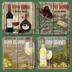 Postershop Sada plechových podtáciek 4ks Vino Rosso & Bianco