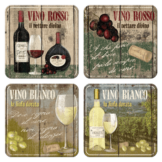 Postershop Sada plechových podtácků 4ks Vino Rosso & Bianco