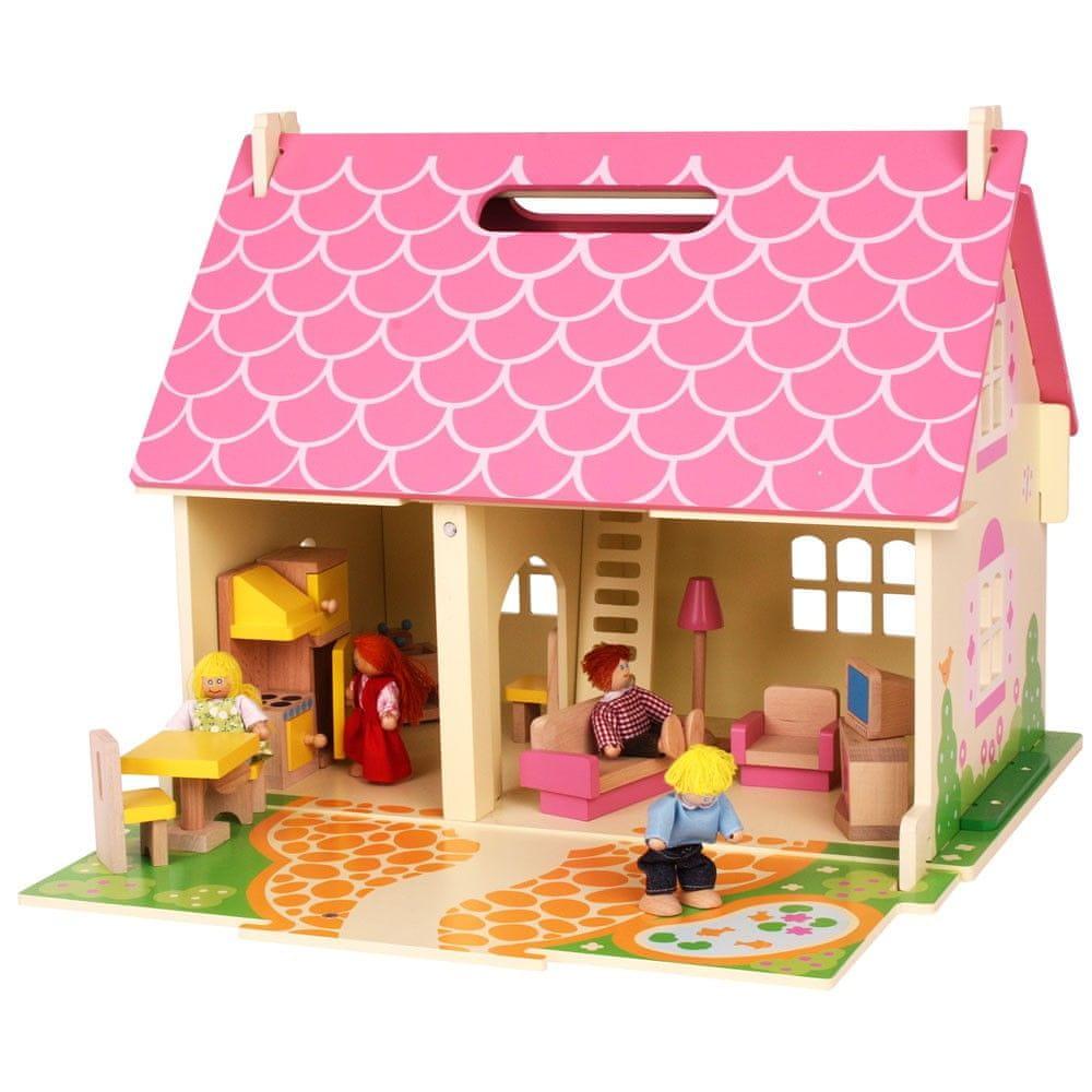 Bigjigs Toys Přenosný dřevěný domeček pro panenky - rozbaleno