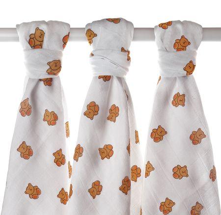 XKKO LUX Mintás textilpelenka, Medvés, 80x80 cm, 3 darab
