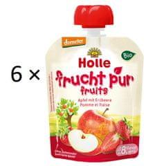 Holle Bio ovocné pyré jablko s jahodami - 6 x 90 g