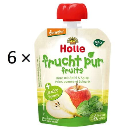 Holle Bio pyré Hruška, jablko, špenát - 6 x 90 g